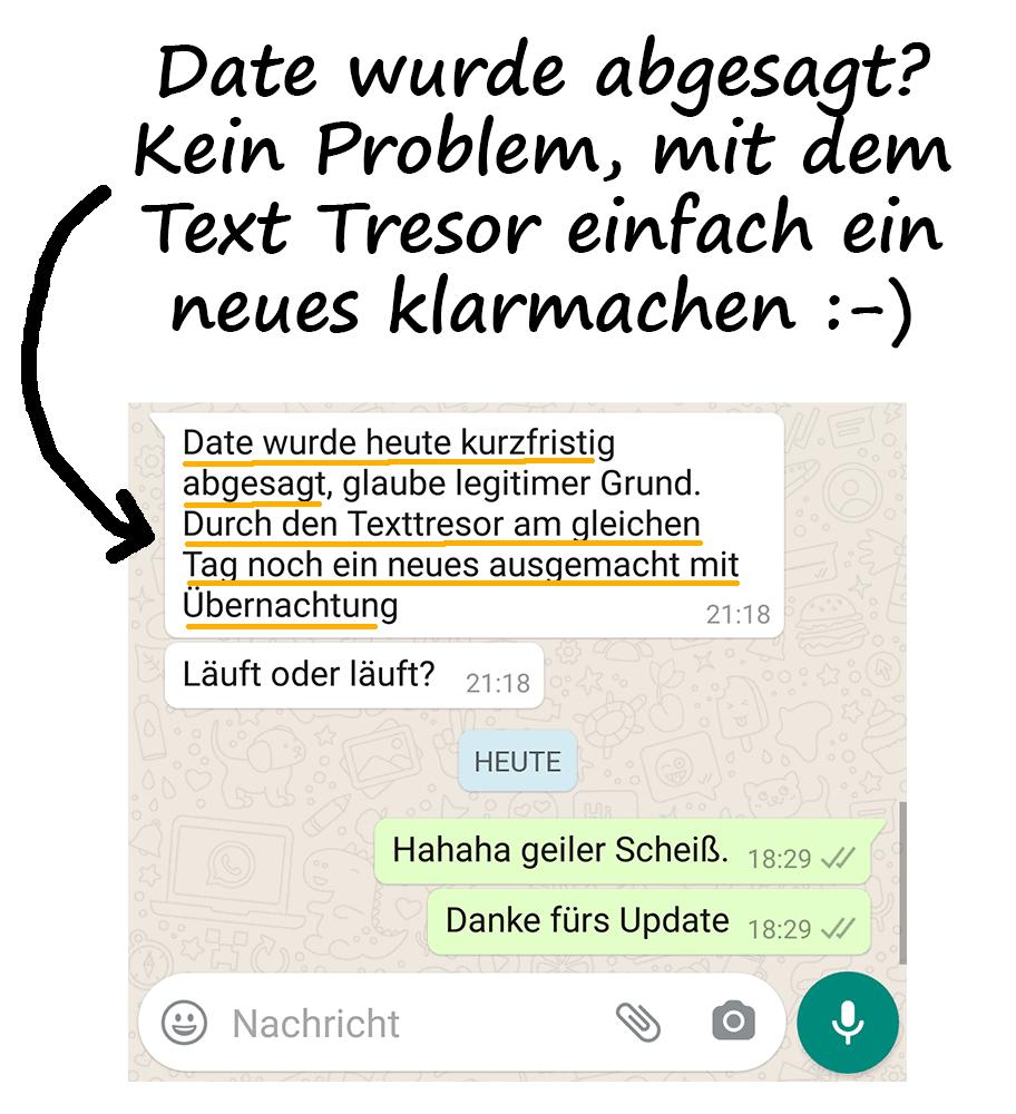 Mit dem Text Tresor der TinderAcademy einfach ein Date klarmachen