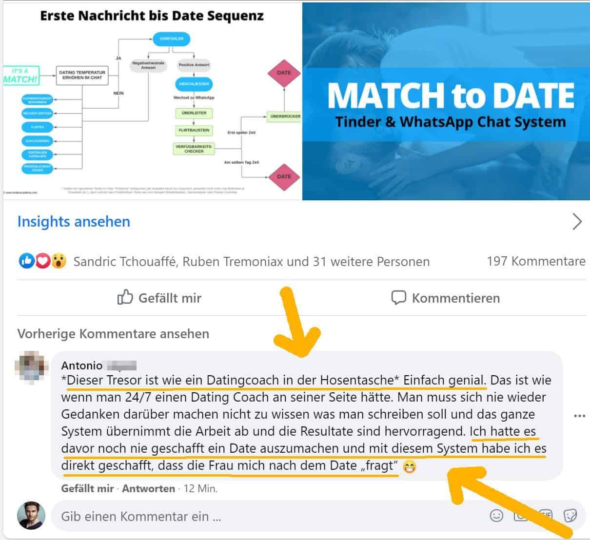 Erfahrungsbericht von jemandem aus der TinderAcademy zum Match to Date Text Tresor
