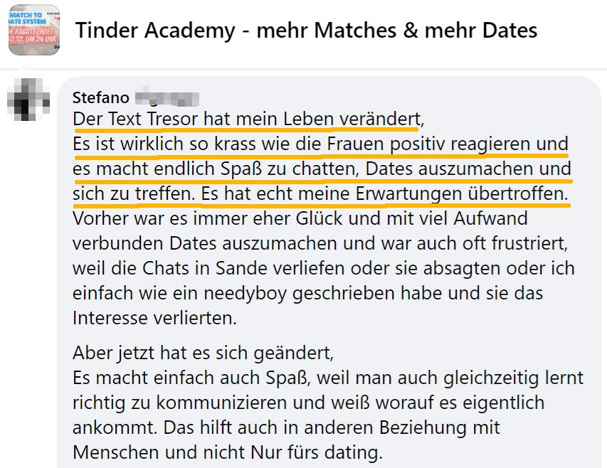 Erfahrungsbericht zum Text Tresor des Match to Date Systems der TinderAcademy