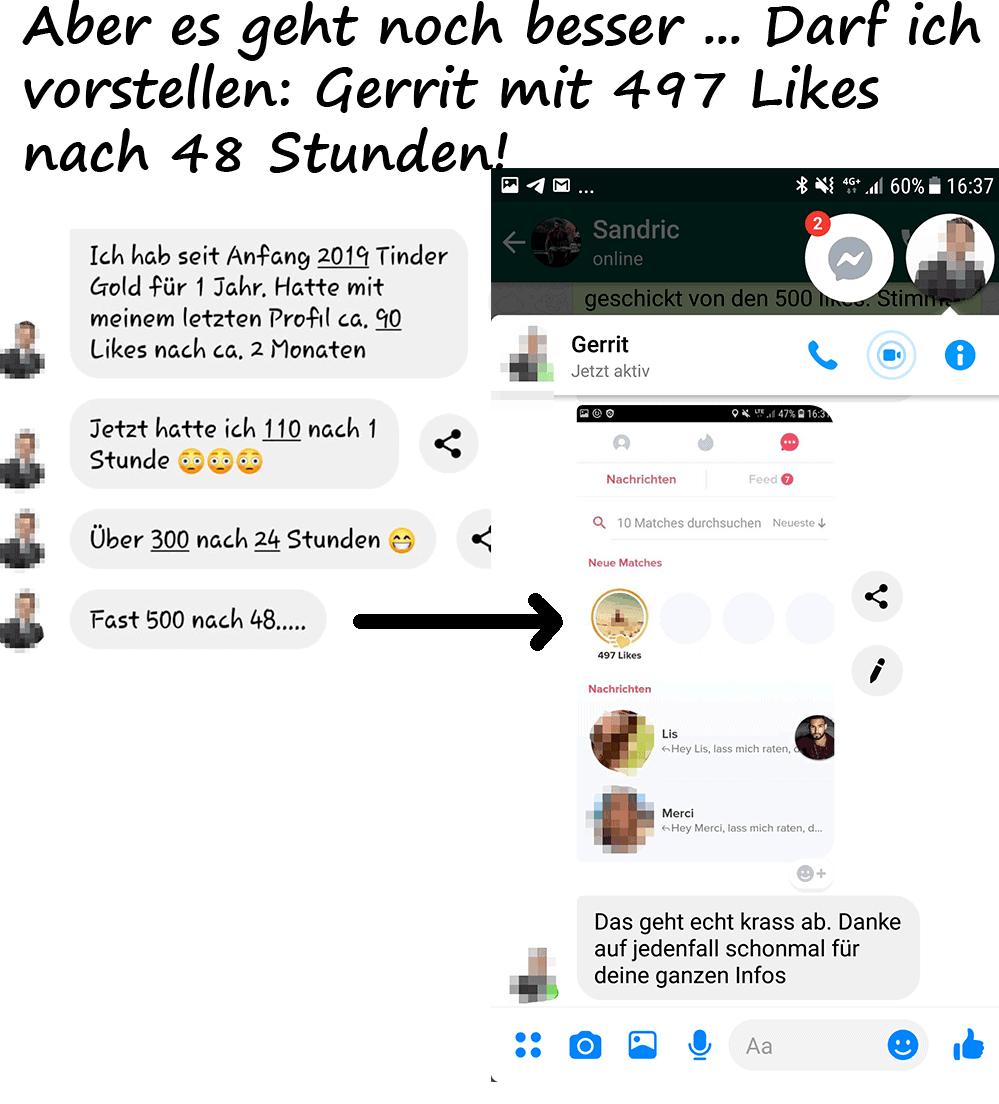 Gerrit bekam 497 Likes in 2 Tagen mit den Strategien aus der TinderAcademy
