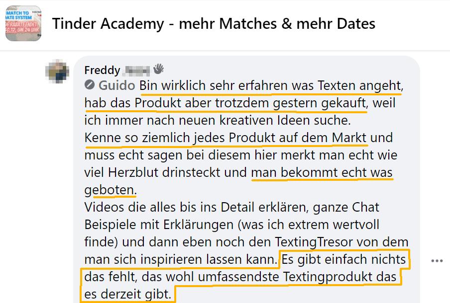 TinderAcademy Match to Date System Erfahrung Fortgeschrittene Text Gamer